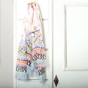 Birdy Border Long Chiifon Silk Scarf Style
