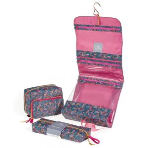 Folk Birds Roll Out Washbag Open View