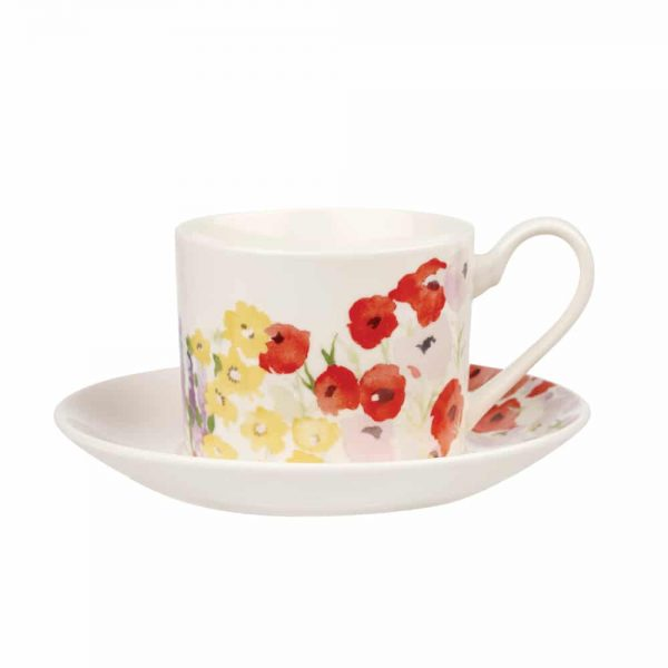 Painted Garden Cup and Saucer