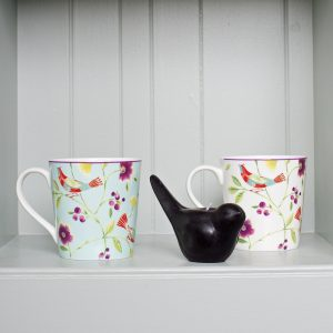 Singing Birds Mugs Aqua White