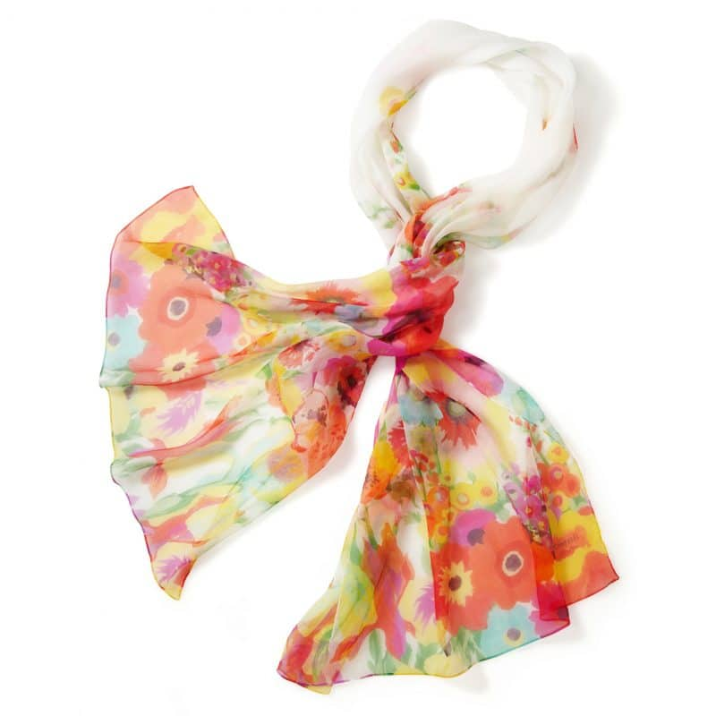 Secret Garden Long Silk Chiffon Scarf