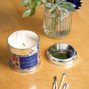 Floresta candle in tin overhead LS