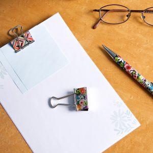 Binding Clip, paper & pen LS