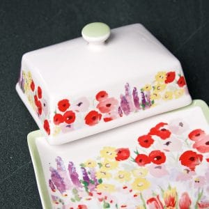 P Garden Butter Dish showing pattern LS